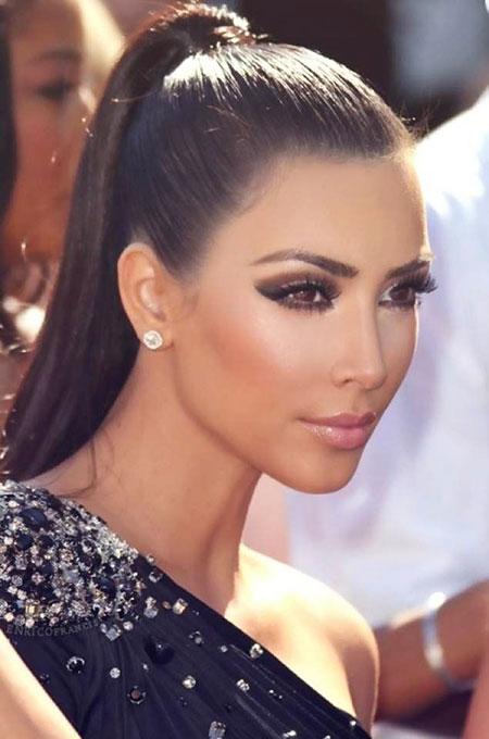 Kim Kardashian Ponytail Makeup