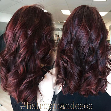 Thick Wavy Hair, Hair Burgundy Color Brown