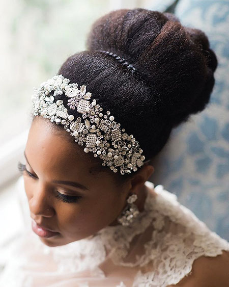 Updo Black Wedding Hair, Bridal Wedding Brides Natural