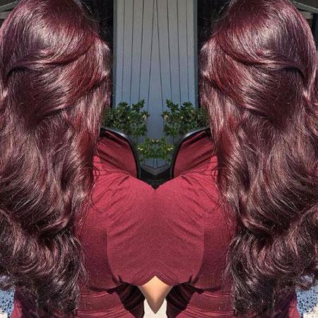 Hair Burgundy Long Brown