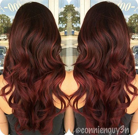 Hair Balayage Red Ombre