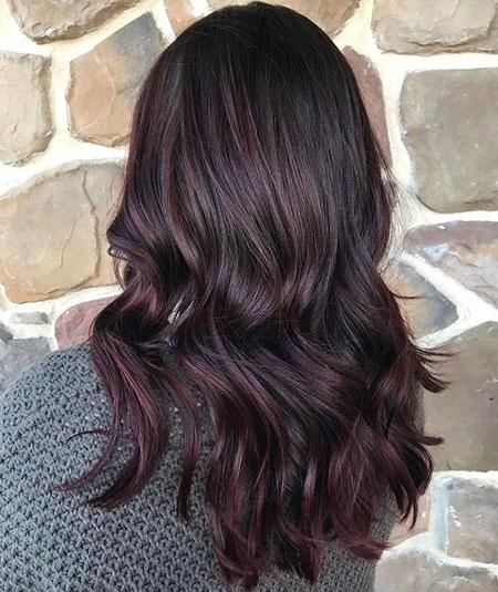 Hair Burgundy Balayage Black