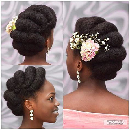 Multiple Buns, Hair Natural Afro Wedding