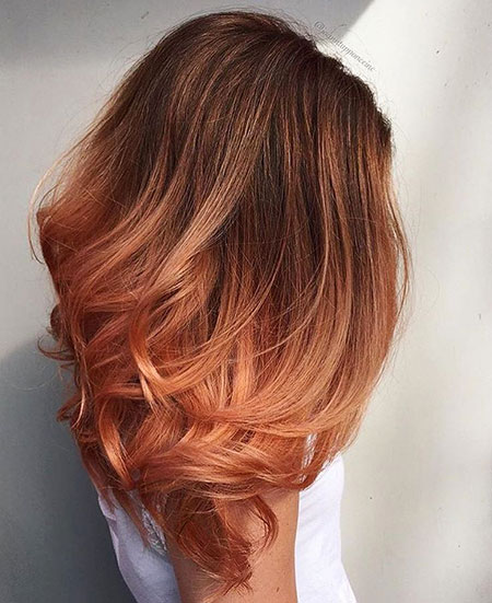 Peachy Hair Color, Hair Copper Balayage Color