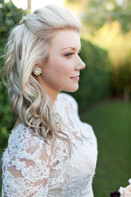 Bridal Curl Back Hair, Wedding Hair Medium Length