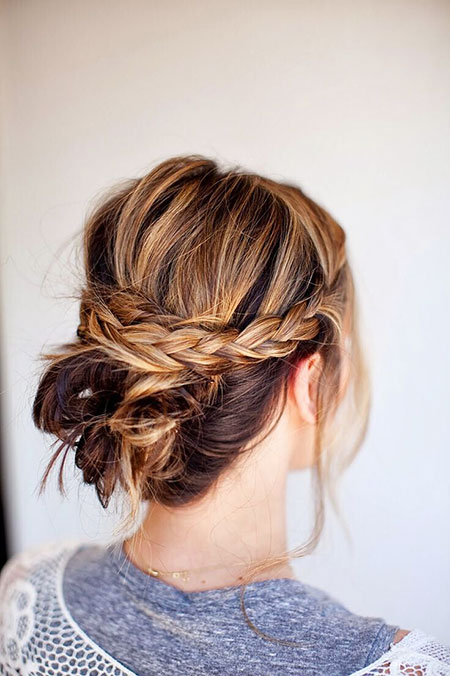 Simple Braided Updo, Bun Updo Messy Hairtyles