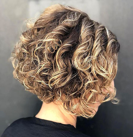 Curly Bob with Blonde Lights, Curly Bob Bronde Stacked