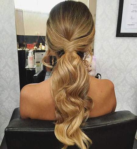 Low Pony with Waves, Hairtyles Ponytail Prom Hair