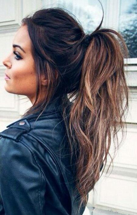Hair Balayage Ponytail Messy