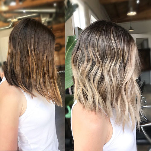 Brown And Blonde Balayage Short Hair