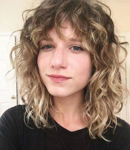Short Layered Curly Hair With Bangs